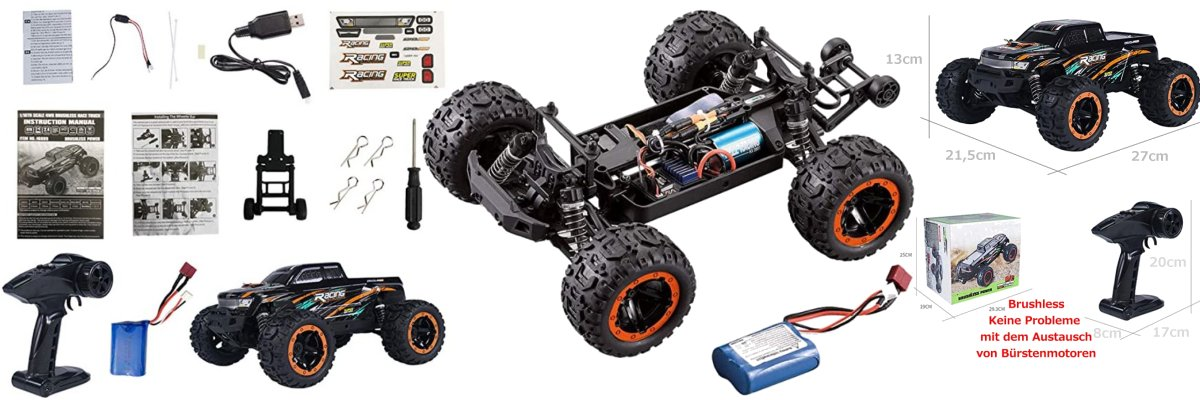 RCM16889A Ferngesteuertes RC Auto RC Truck 1/16 4WD 2.4G Brushless Motor Hight Speed 45km/h